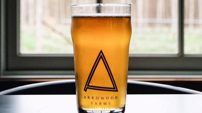 A pint of beer from Arrowood Farms in Accord, New York.