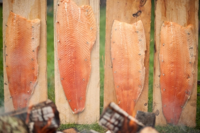 Swedish planks with salmon Fire Roasted Catering Great Barrington