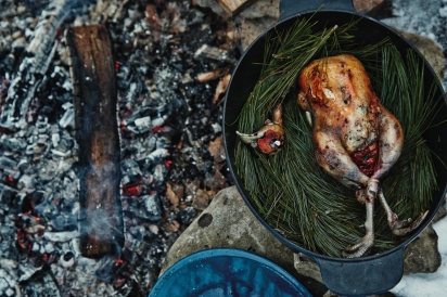 The Urban Huntsman's Embered Root Vegetables with Whole Roasted Pheasant on Pine.