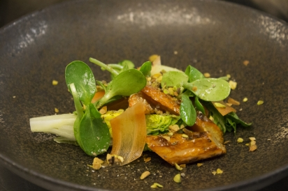 Roasted carrot salad with local honey, pistachios and spices from Gramercy Tavern.