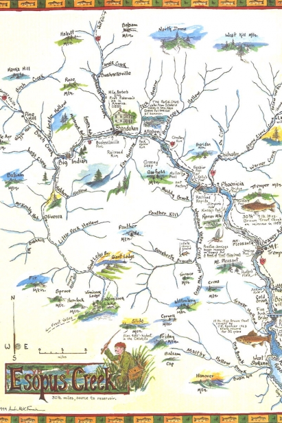 A map of the Esopus Creek in the Catskills.