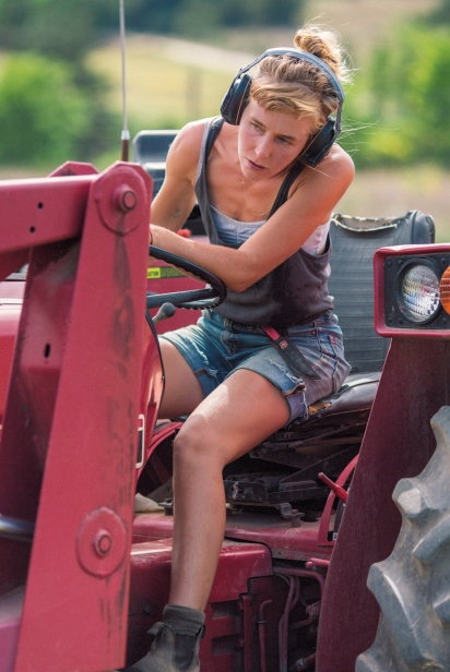 Jennifer Parker drives one of Ironwood's two tractors.
